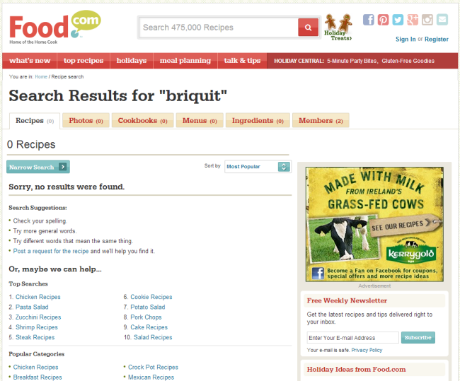No Results page on Food dot com