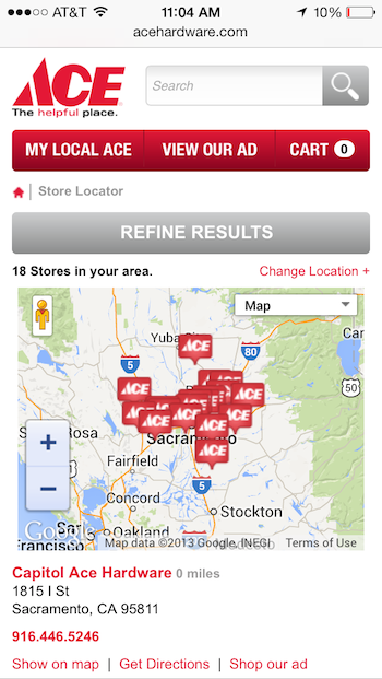 Ace Hardware location map markers overlap