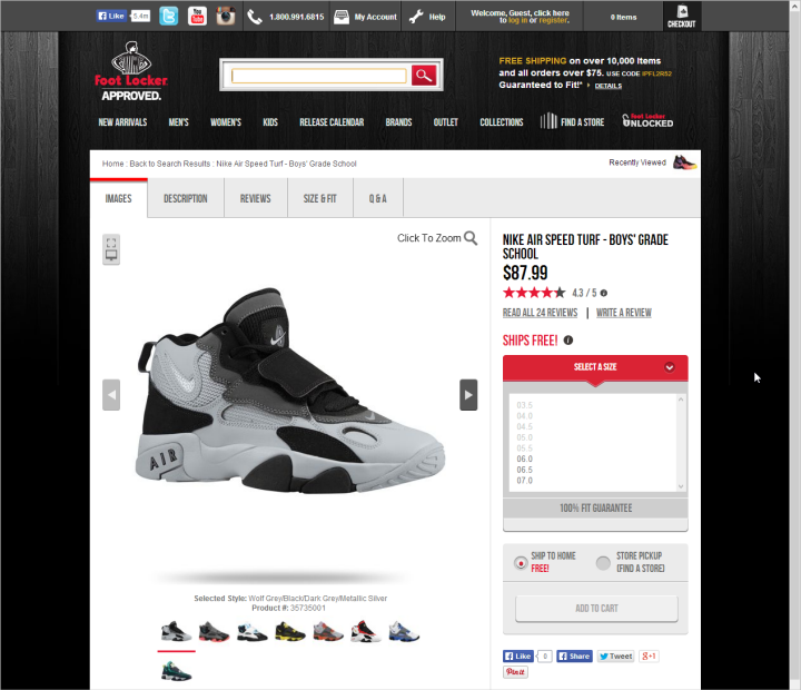 A Foot Locker product page