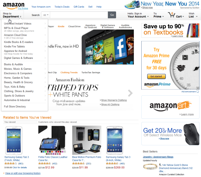 Amazon.com homepage showing drop-down menu for products