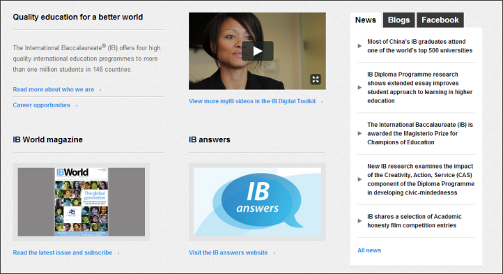 Cropped screenshot of the bottom half of the IB.org homepage