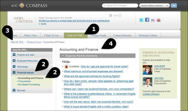 Accounting and Finance page on AOC intranet with horizontal main navigation and vertical local navigation