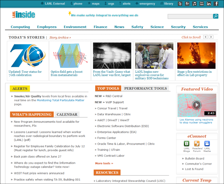 LANL homepage with a top tools area in the middle of the page