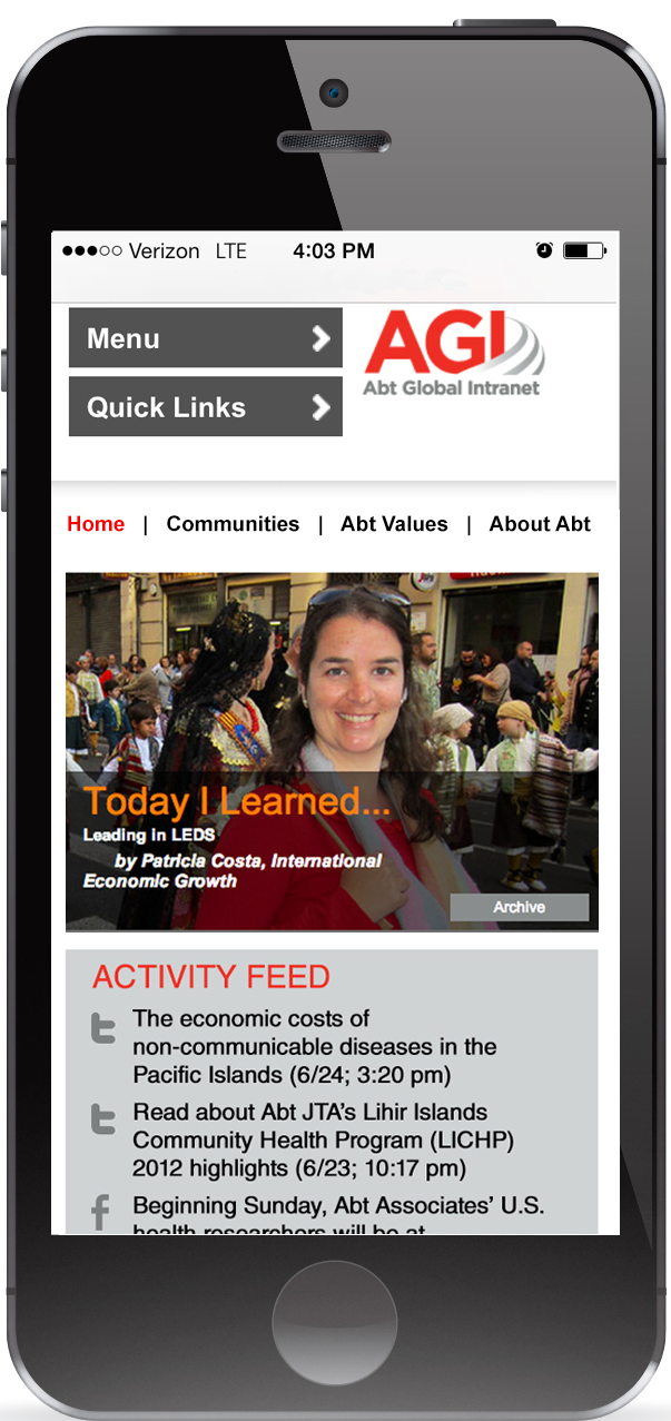 "AGI homepage on a smart phone prominently displays ""Today I Learned"""
