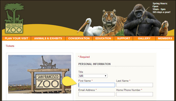 SF Zoo Tickets Form with keyboard insertion point in the First Name field