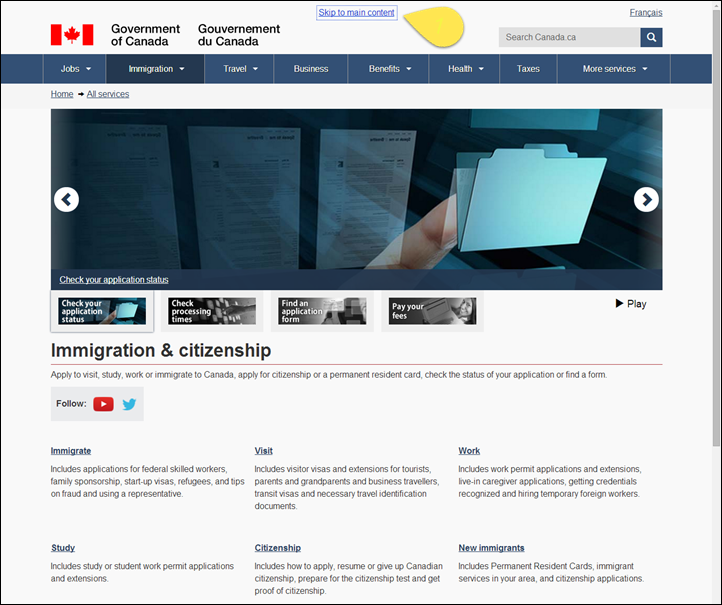 Government of Canada Skip to main content link in the top left corner