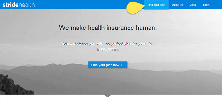 StrideHealth homepage with 4 main navigation menu items and visual focus on the first one, Find Your Plan