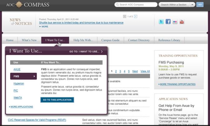 国会内部网架构师的屏幕截图,显示菜单标签附带的描述性文本