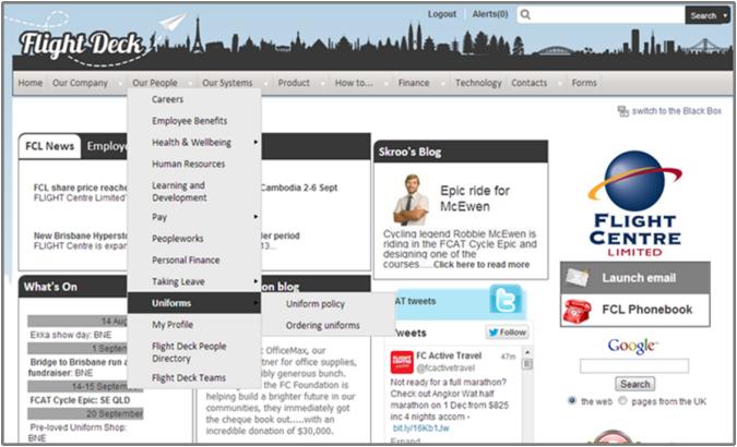 带有全球导航下拉菜单的飞行中心内部网截图