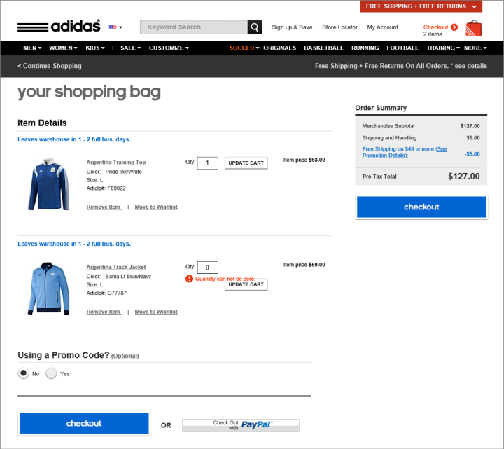 free website with shopping cart and paypal