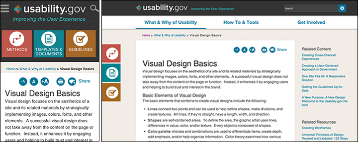 Screenshots of icon use on Usability.gov s mobile and desktop websites  Usability.gov s website ... 51159b7fd51