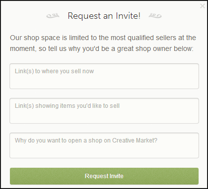 Creative Market request invitation