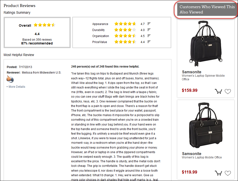 "7e8ea89dbfa549 eBags displays related bags based on what other customers (who viewed the  same page) also viewed  ""If they viewed this bag"