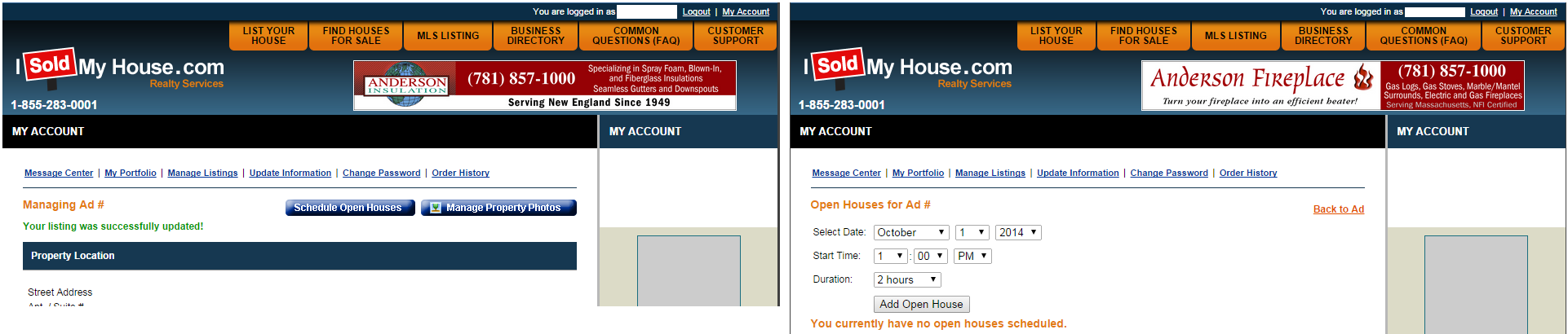 """Schedule Open Houses"" button leads to a calendar form"
