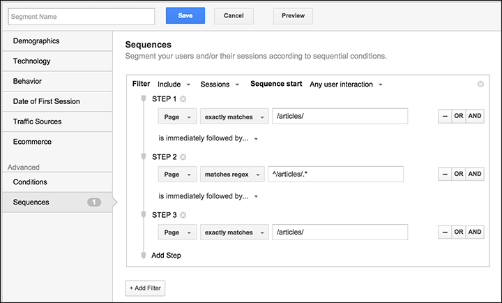Segment by sequence screen in Google Analytics