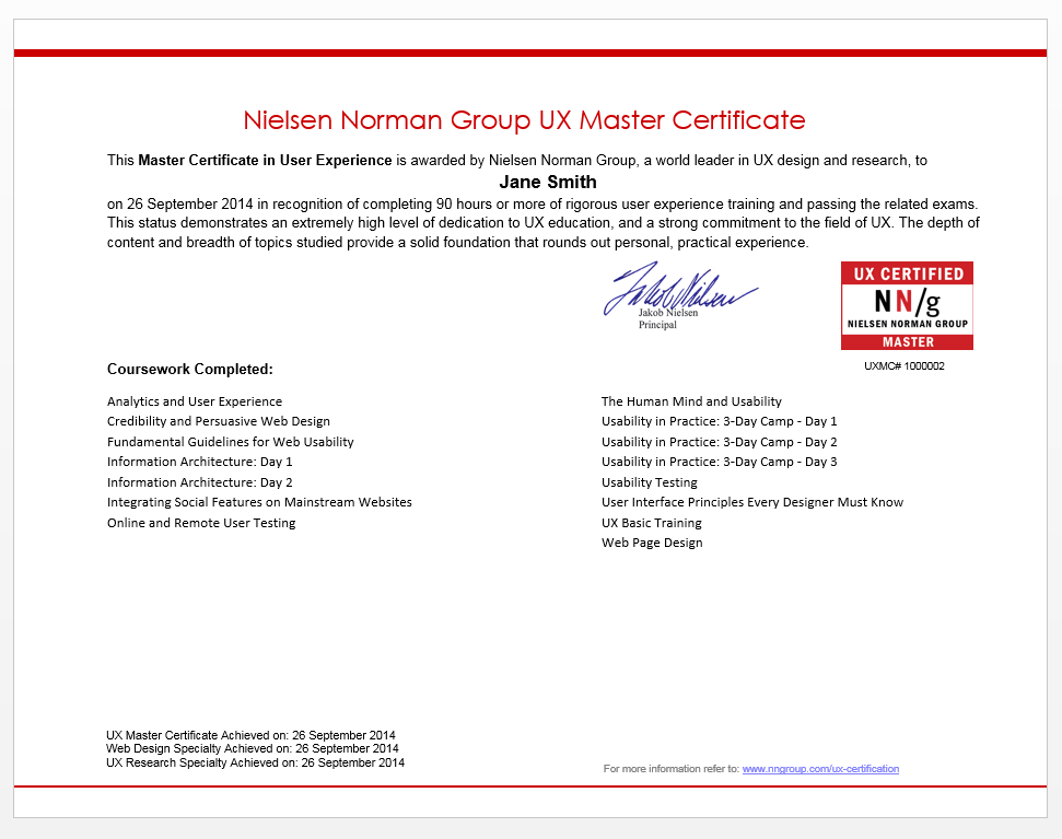 certification of ux training achievement with nielsen