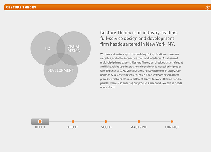 The Homepage Of Gesture Theory Uses Multiple Circular Elements In Its Minimalist Design
