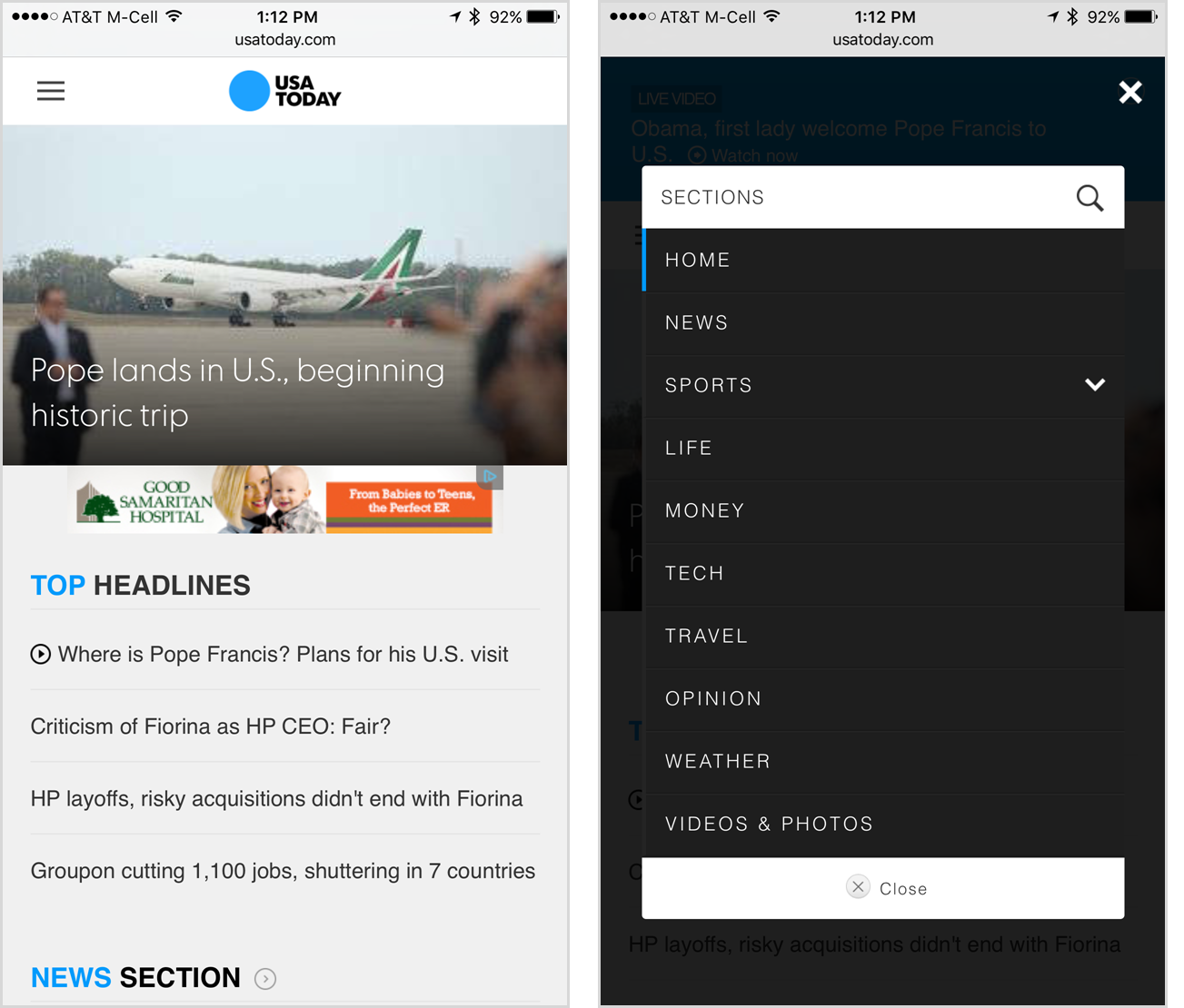 Ui best practice spacing between navigation options