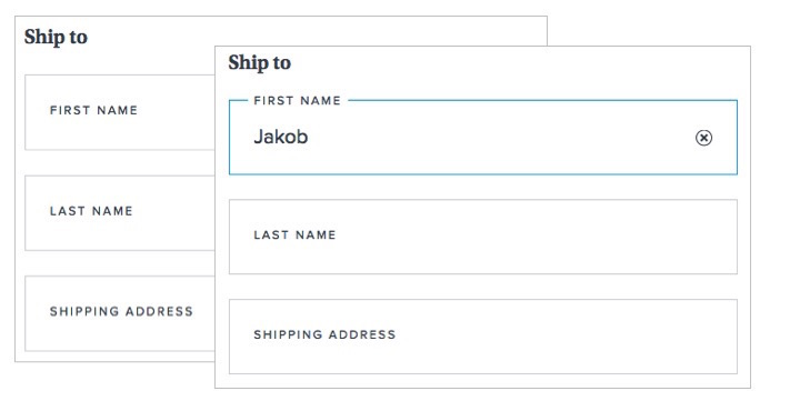 Placeholder label 'First name' rises to the top of the field on input focus