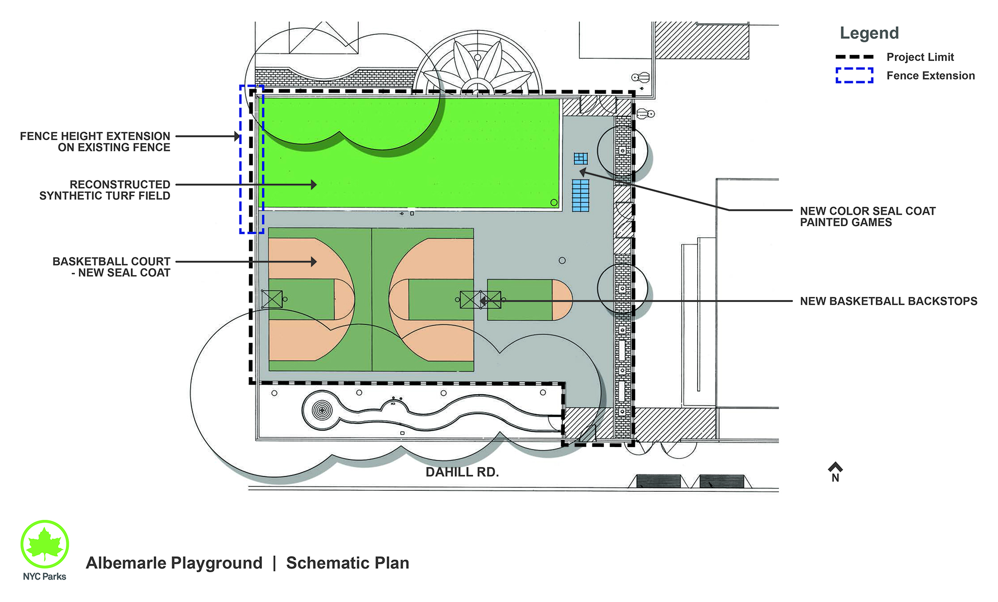 Design of Albemarle Playground Synthetic Turf Field and Basketball Court Reconstruction