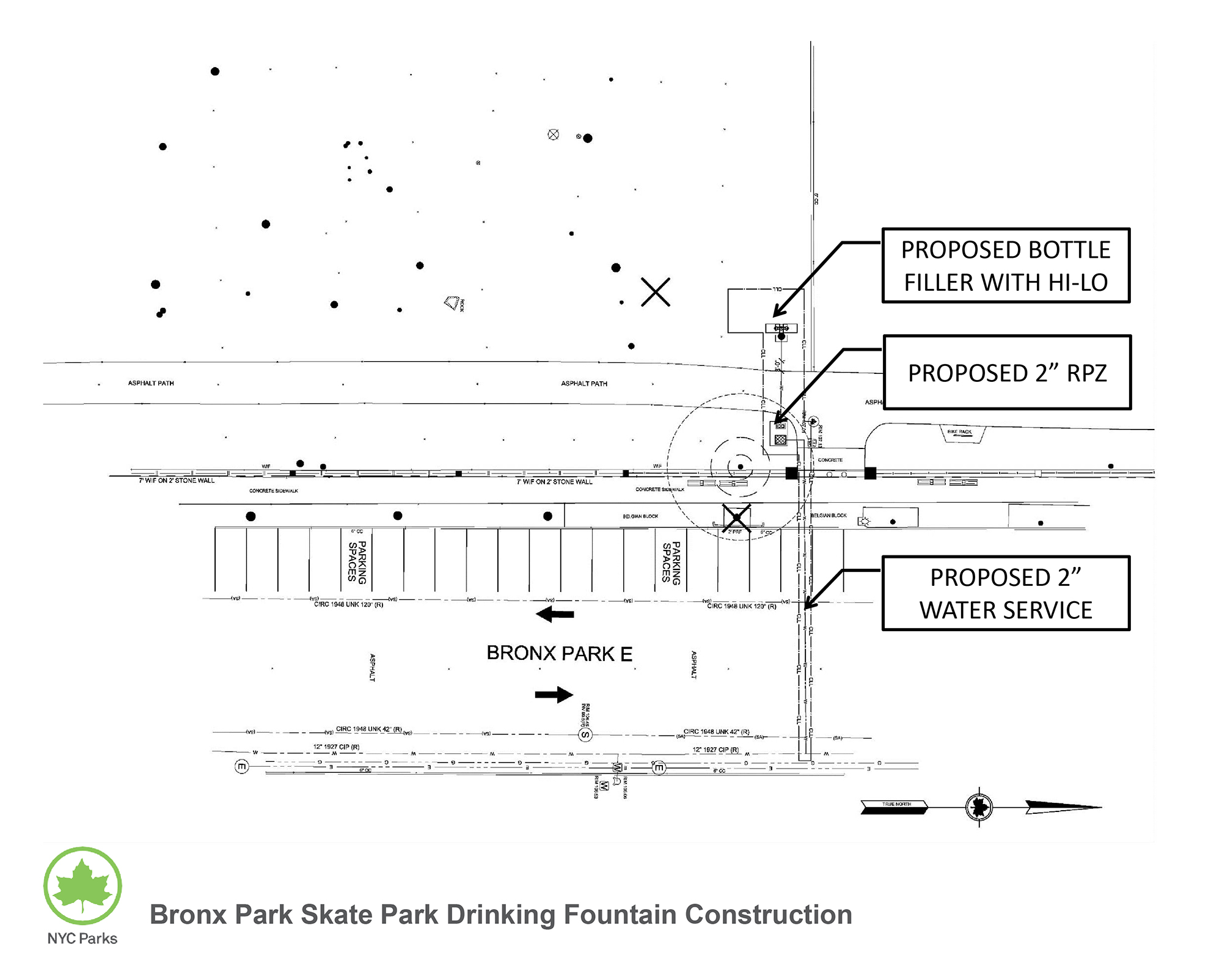 Design of Bronx Park Skate Park Drinking Fountain Construction