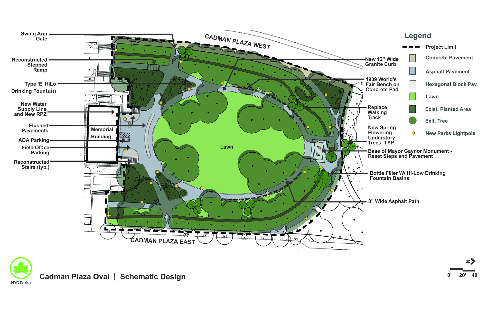 Design of Cadman Plaza Park Oval Reconstruction