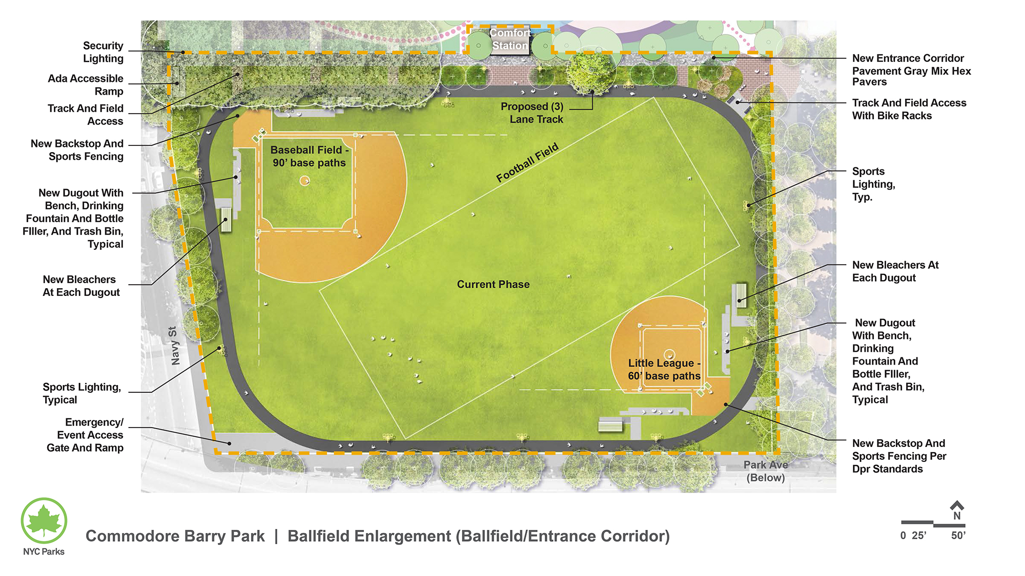 Design of Commodore Barry Park Ballfields Reconstruction and Track and Sports Lighting Construction