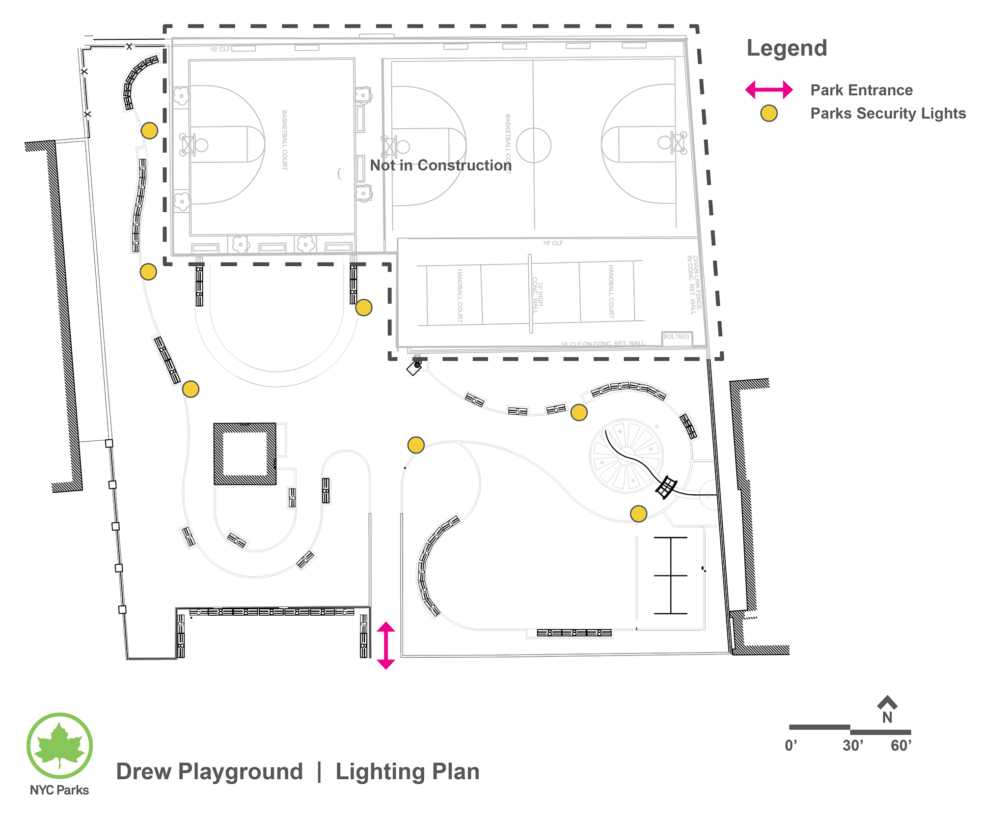 Design of Drew Playground Park Security Lighting Construction