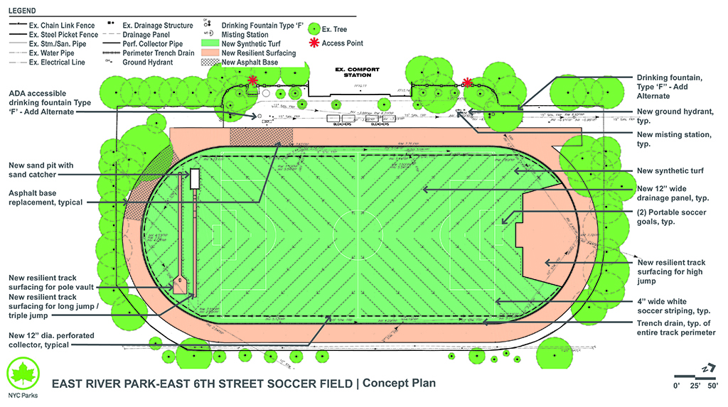 Design of East River Park East 6th Street Synthetic Turf Soccer Field & Running Track Reconstruction