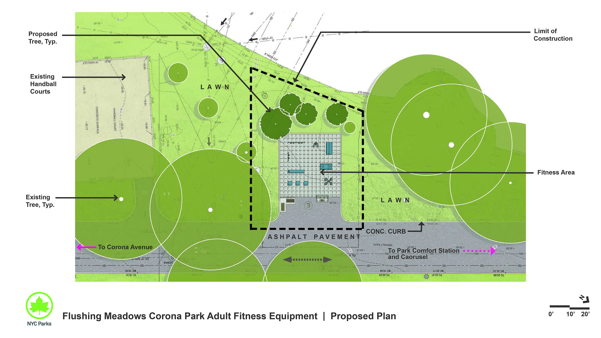 Design of Flushing Meadows Corona Park Adult Fitness Equipment Installation