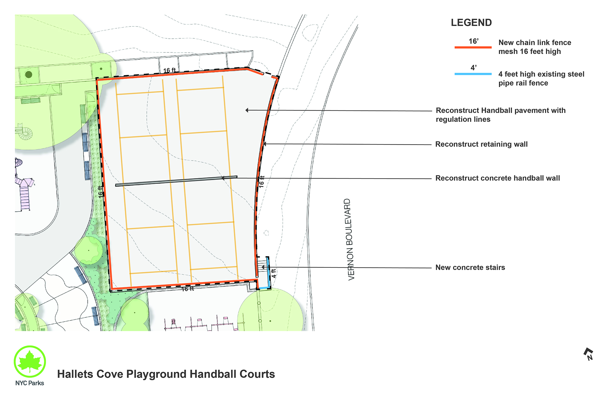 Design of Hallets Cove Playground Handball Court Reconstruction