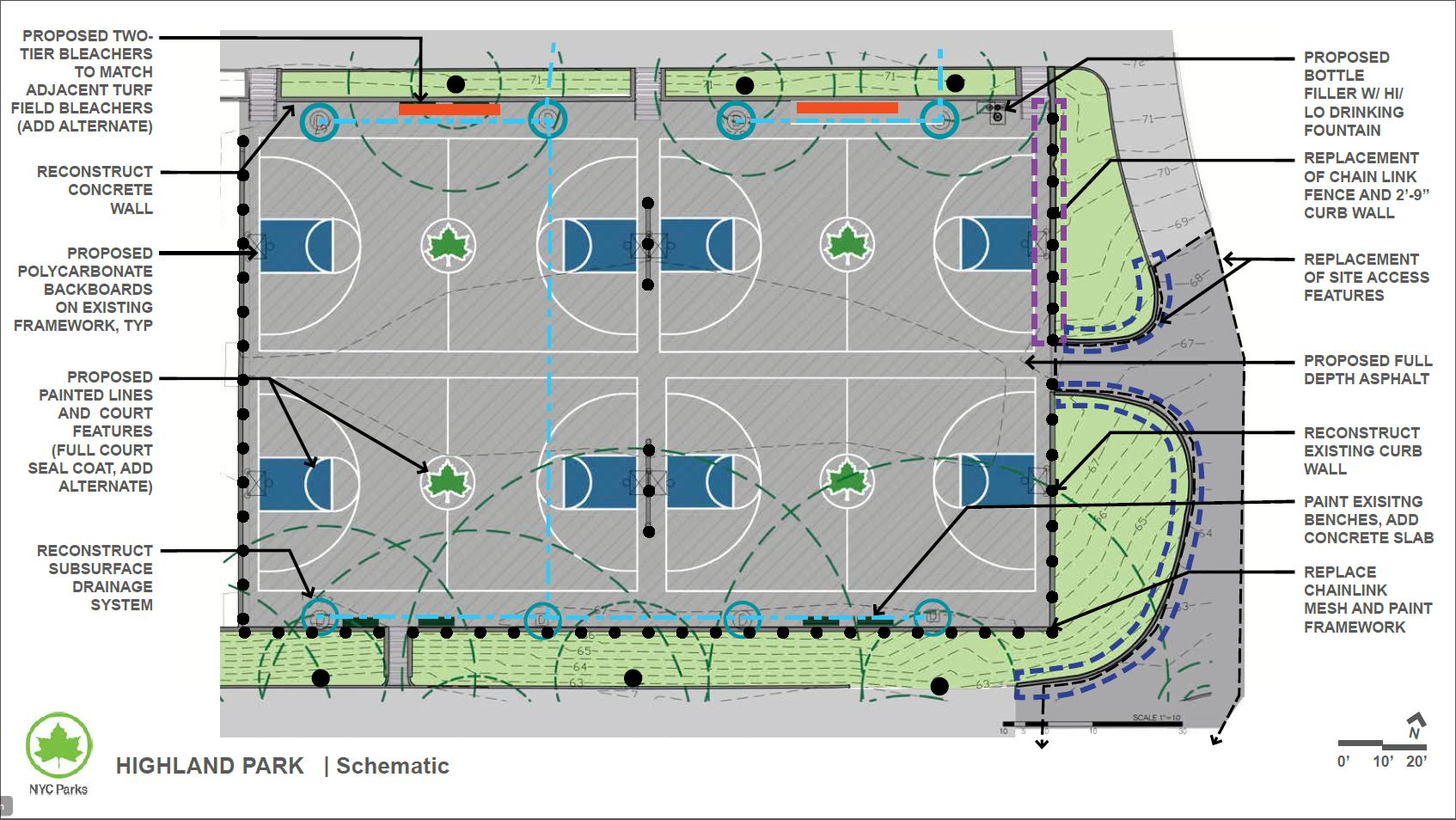 Design of Highland Park Basketball Courts Reconstruction