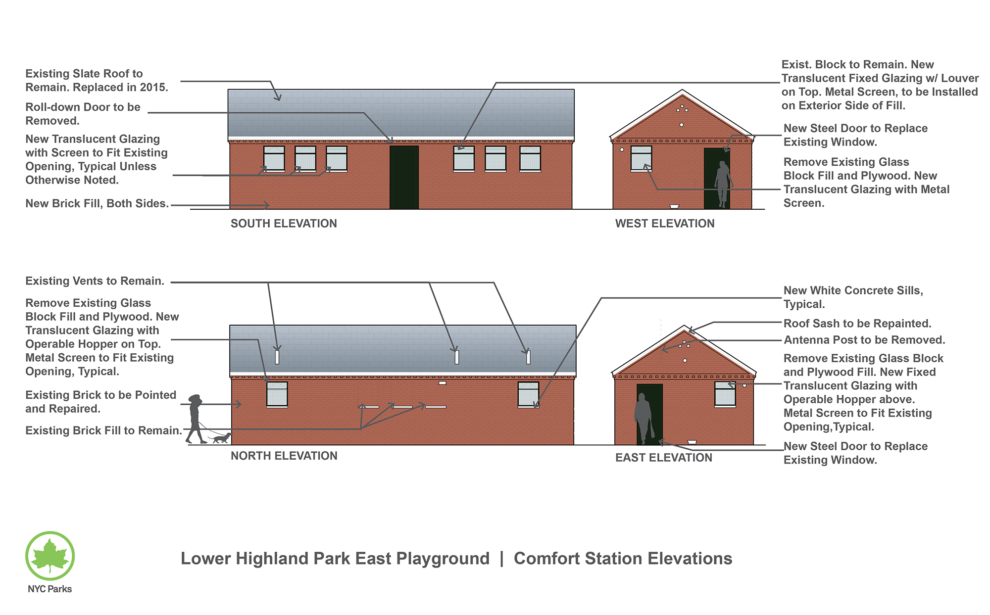 Design of Highland Park Lower East Playground Comfort Station Reconstruction