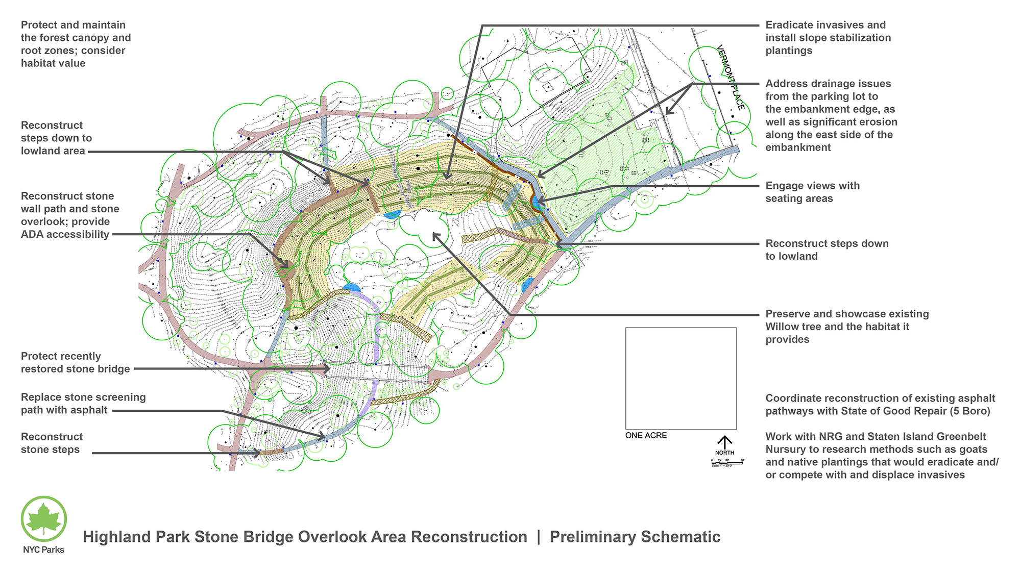 Design of Highland Park Stone Bridge Overlook Area Reconstruction