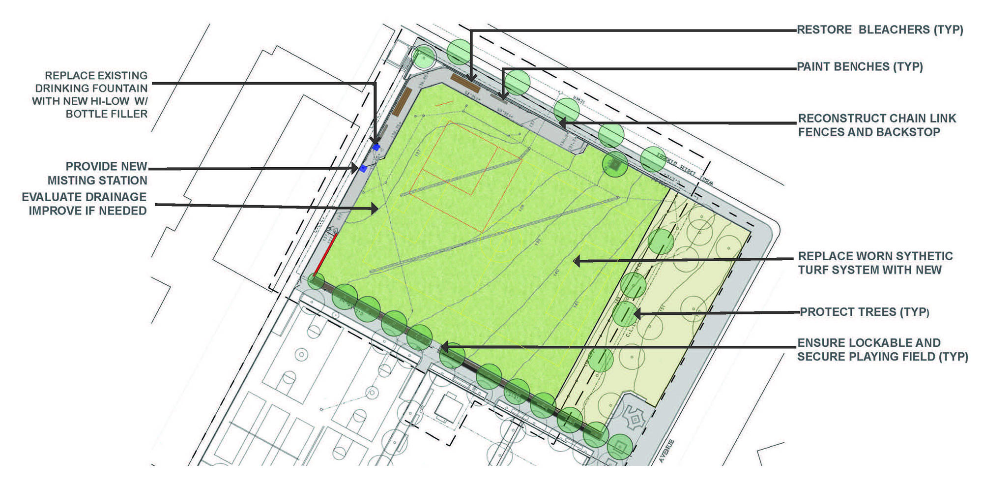 Design of Jacob Schiff Playground Synthetic Turf Field Reconstruction