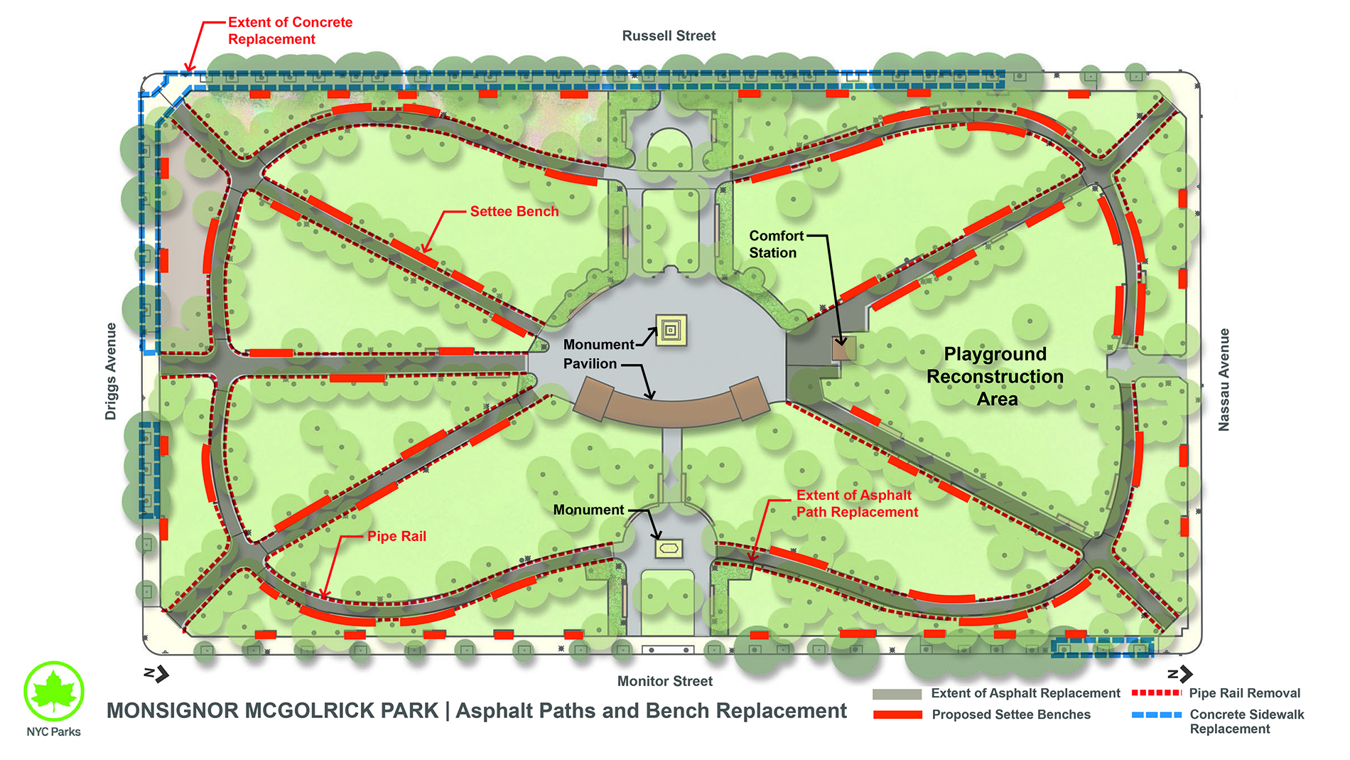 Design of McGolrick Park Paths Reconstruction