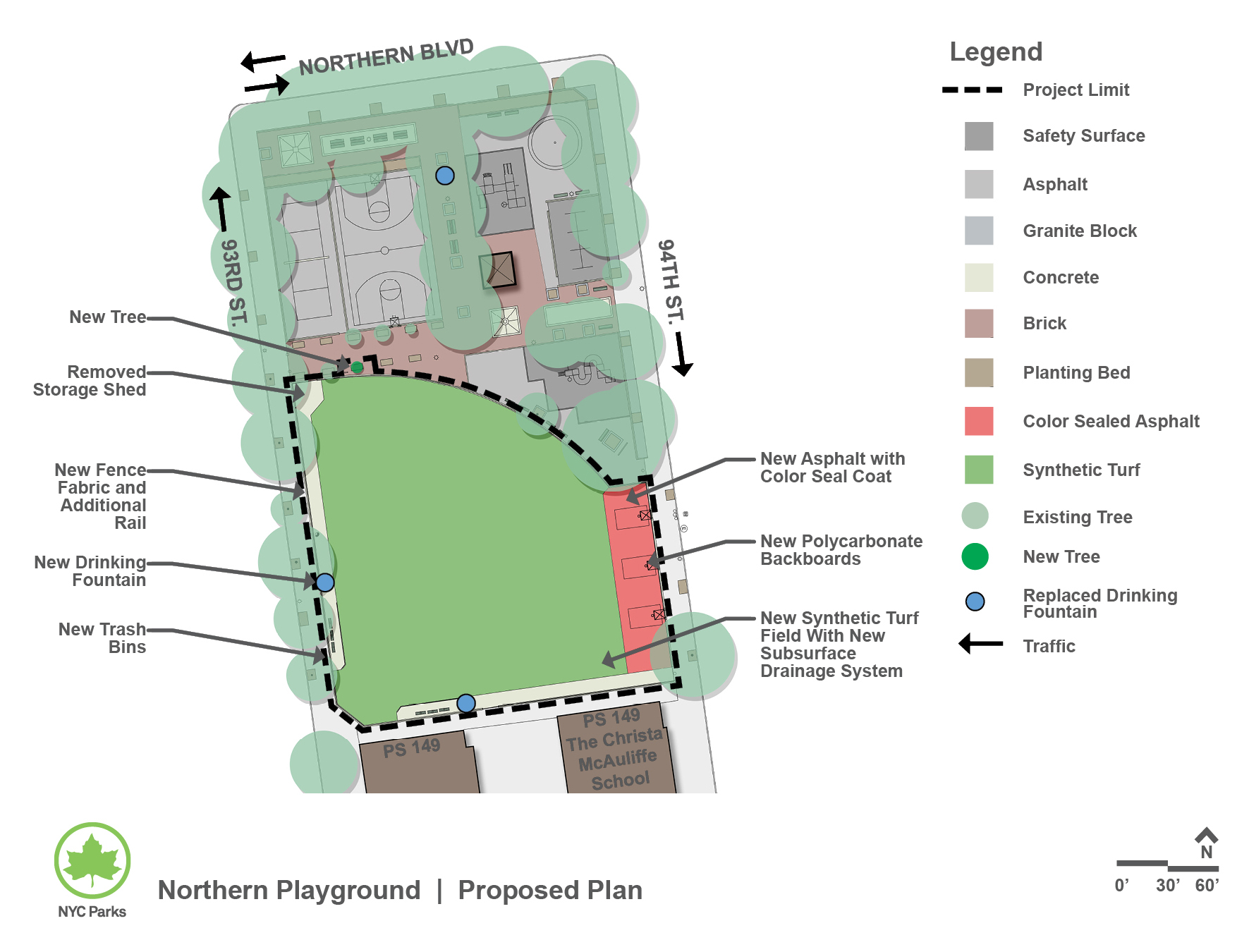 Design of Northern Playground Synthetic Turf Reconstruction