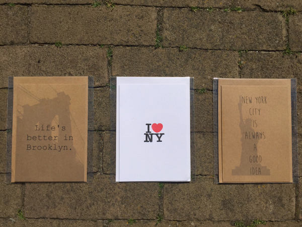 Set kaarten met NYC tekst