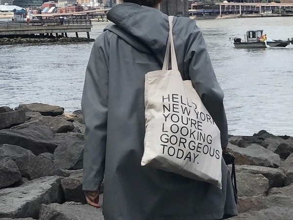 Hello New York canvas tas