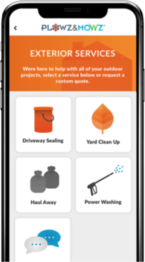 schedule your power washing services with a local company through the plowz and mowz app