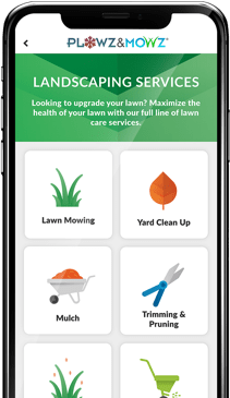 download the plowz and mowz app to schedule your mulch delivery and installation with a local landscaping company