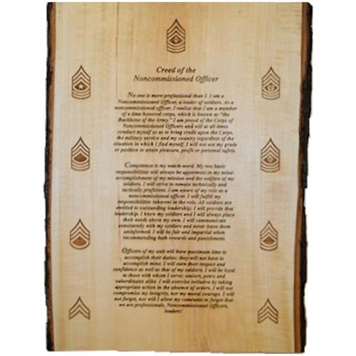 Engraved Image -  Plaque  - US Army NCO Creed