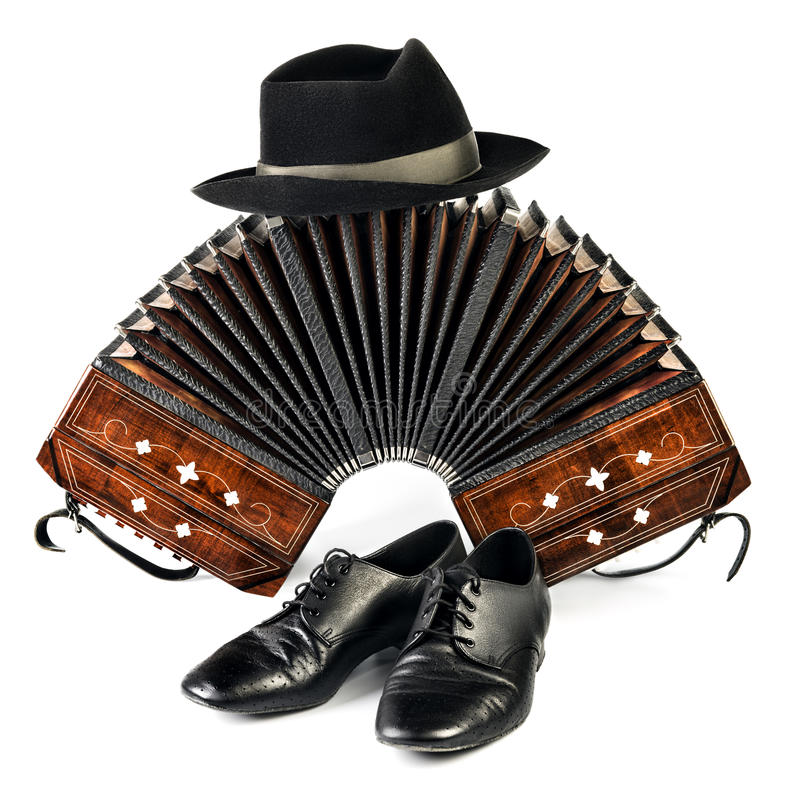 bandoneon-tango-shoes-black-hat-isolated-white-pair-background-46679355
