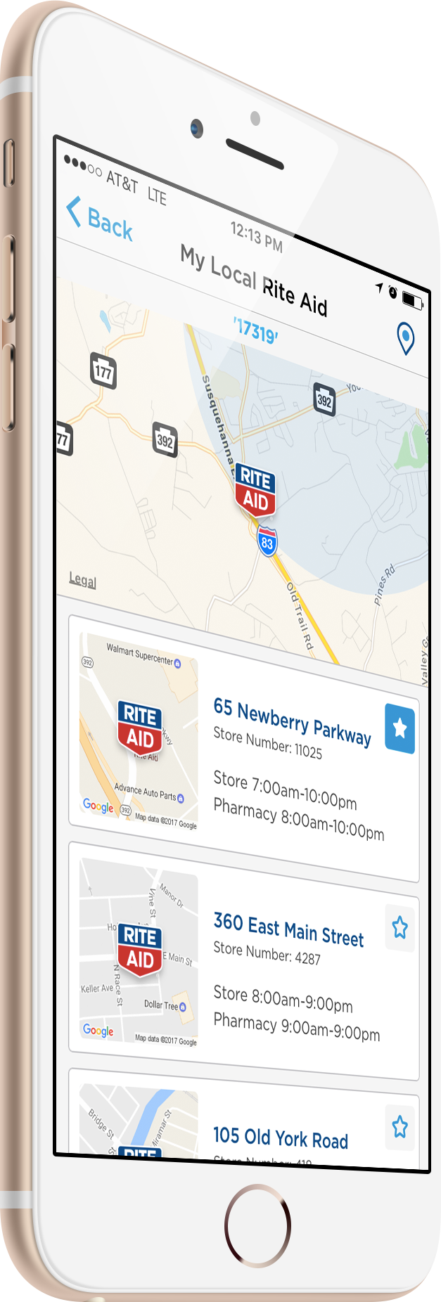 image of iphone with the rite aid mobile app store locator screen displayed