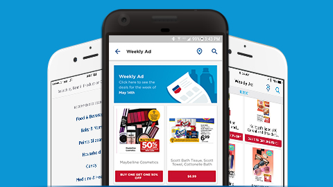 image of android phones with the rite aid mobile app weekly ad screens displayed
