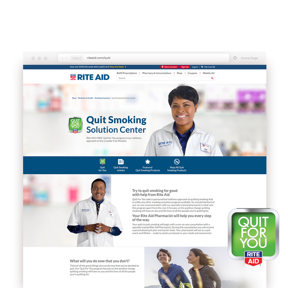 screenshot of quit for you website