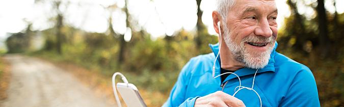 Older man using a fitness app