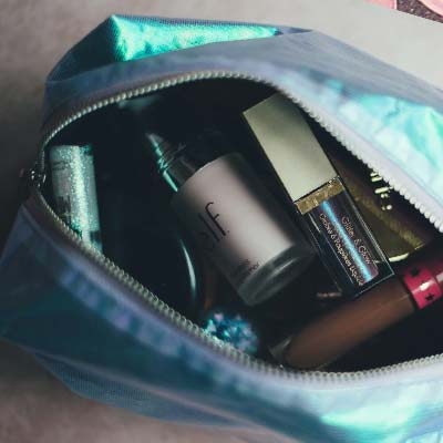 image of purse with cosmetics