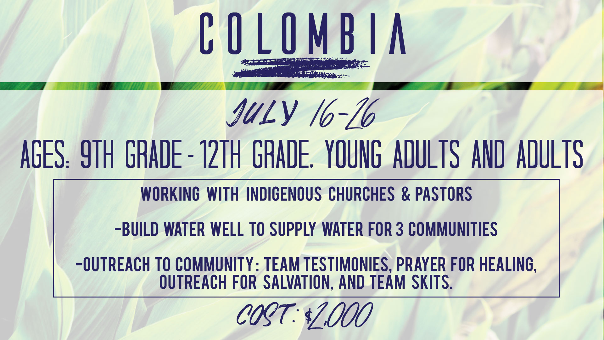 Colombia Missions Trip 2019