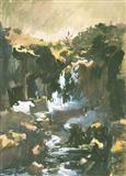 Waterfall near Mandu-Dhar State - S H Raza - Auction 2001 (December)